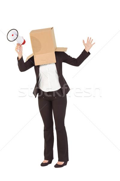 Anônimo empresária megafone branco caixa Foto stock © wavebreak_media
