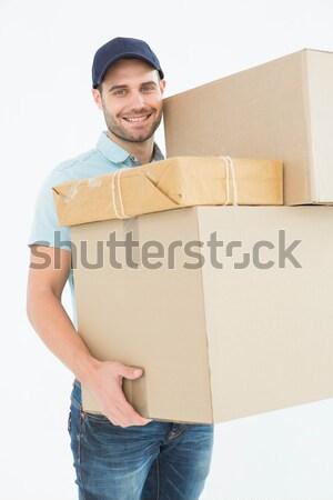 Kurier Mann tragen Karton Porträt Stock foto © wavebreak_media
