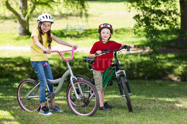 Stock fotó: Boldog · testvérek · bicikli · napos · idő · tavasz · nyár
