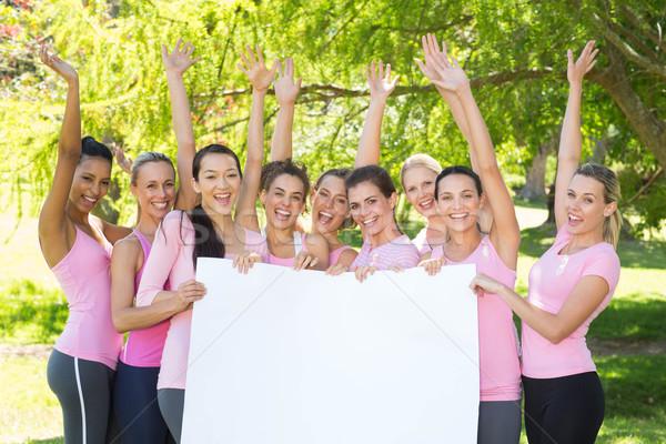 Sonriendo mujeres rosa cáncer de mama conciencia Foto stock © wavebreak_media