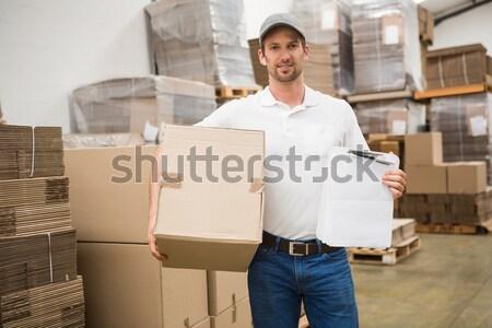 работник пакет склад человека промышленности Сток-фото © wavebreak_media