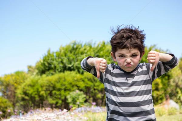 Aranyos fiú néz kamera hüvelykujjak lefelé Stock fotó © wavebreak_media