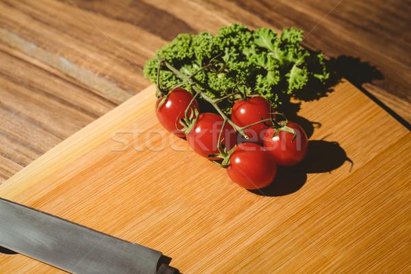 Kiraz domates maydanoz bo mutfak bıçak Stok fotoğraf © wavebreak_media