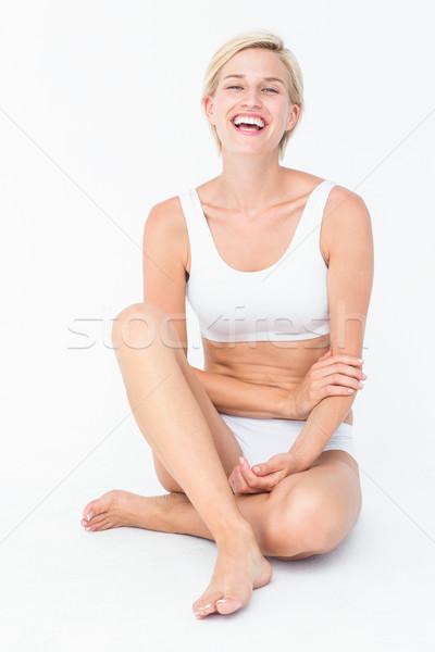 Boldog nő mosolyog kamera fehér test egészség Stock fotó © wavebreak_media