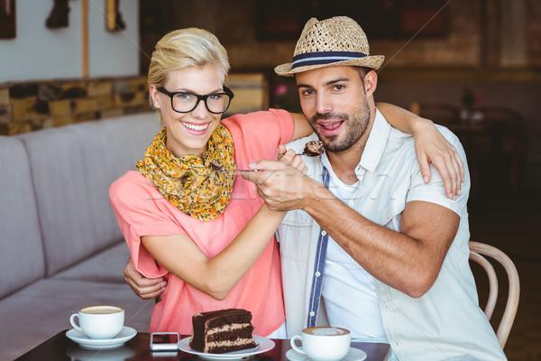 Cute пару дата другой продовольствие кафе Сток-фото © wavebreak_media