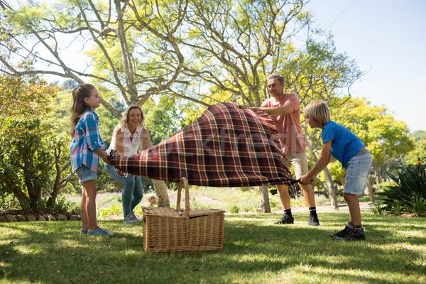 Family spreading the picnic blanket Stock photo © wavebreak_media