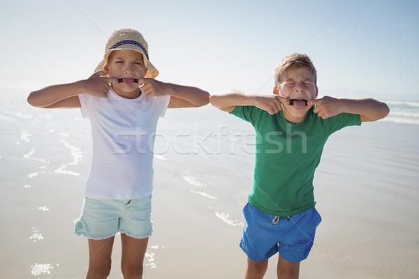 Siblings making teasing faces at beach Stock photo © wavebreak_media