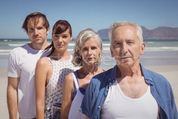 портрет серьезный семьи Постоянный пляж Сток-фото © wavebreak_media