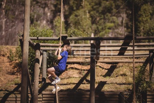 Kız tırmanma halat çizme Stok fotoğraf © wavebreak_media