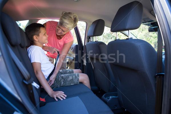 Büyükanne torun koltuk kemer araba kadın Stok fotoğraf © wavebreak_media