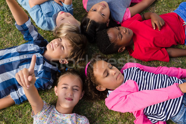 Overhead view of children with arms raised lying on field Stock photo © wavebreak_media
