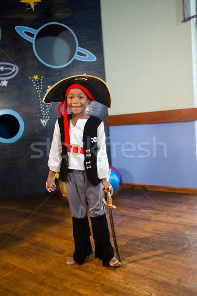 портрет мальчика пиратских домой счастливым пить Сток-фото © wavebreak_media