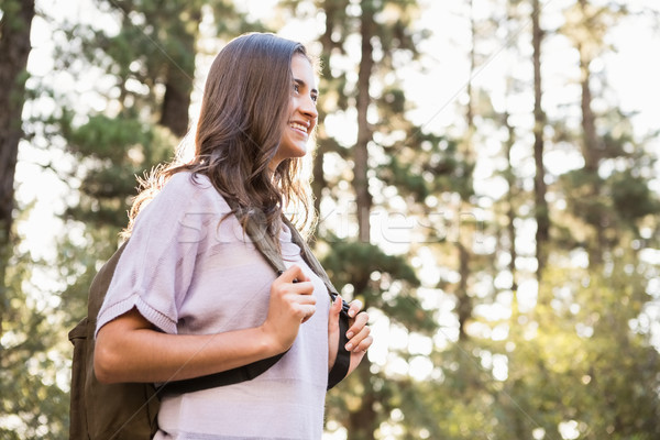 Pretty brunette hiker holding rucksack Stock photo © wavebreak_media