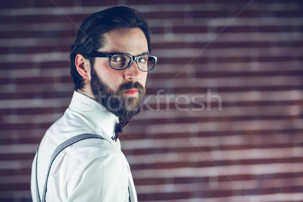 肖像 深刻 ヒップスター 着用 眼鏡 レンガの壁 ストックフォト © wavebreak_media