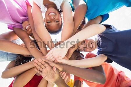 笑みを浮かべて バレーボール プレーヤー 監督 手 スタック ストックフォト © wavebreak_media