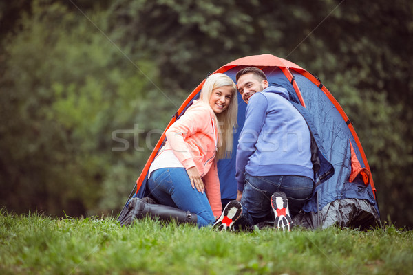 Happy couple setting up their tent Stock photo © wavebreak_media