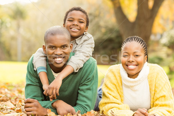 портрет молодые семьи листьев улыбка счастливым Сток-фото © wavebreak_media