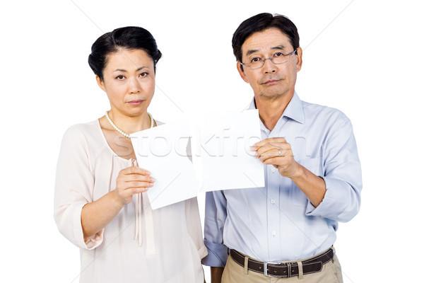 çift yırtık kağıt beyaz kâğıt yaşlı Stok fotoğraf © wavebreak_media