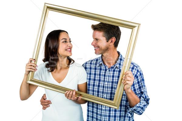Pár tart képkeret fehér férfi női Stock fotó © wavebreak_media