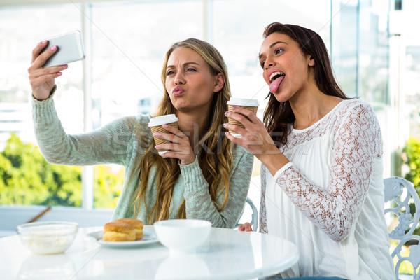 Stock foto: Zwei · Mädchen · Essen · trinken · Tee