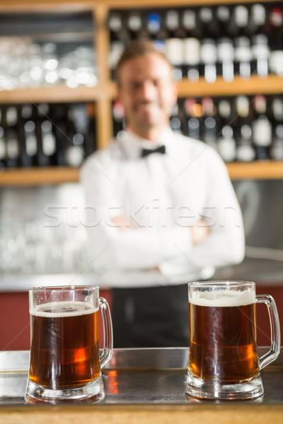 Kilátás pult csapos mögött férfi boldog Stock fotó © wavebreak_media