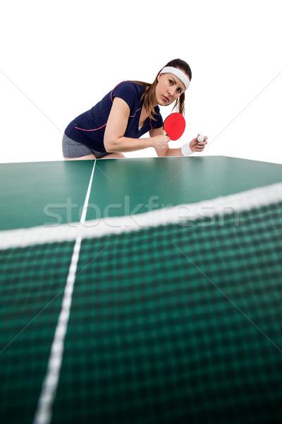 Vrouwelijke atleet spelen tafeltennis witte vrouw Stockfoto © wavebreak_media