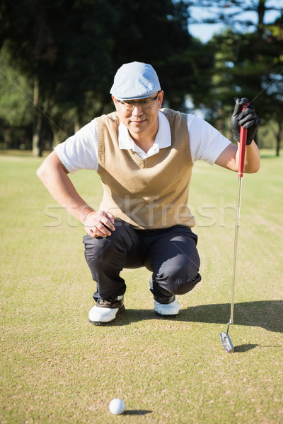 Portrait of golfer crouching and looking his ball Stock photo © wavebreak_media