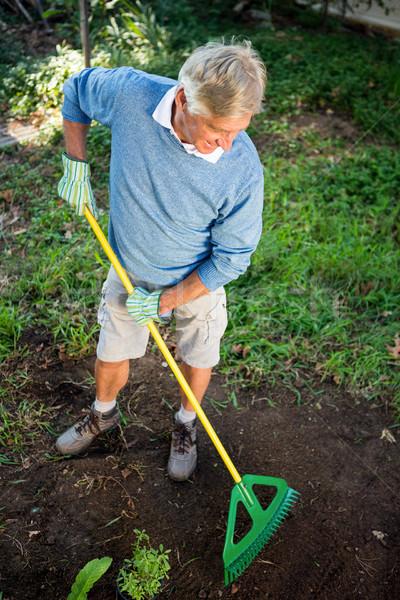 Magasról fotózva kilátás boldog kertész gereblye kert Stock fotó © wavebreak_media