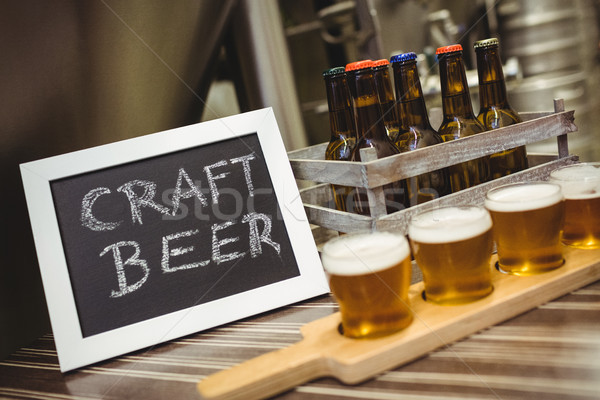 Sign board with beer samples at brewery Stock photo © wavebreak_media