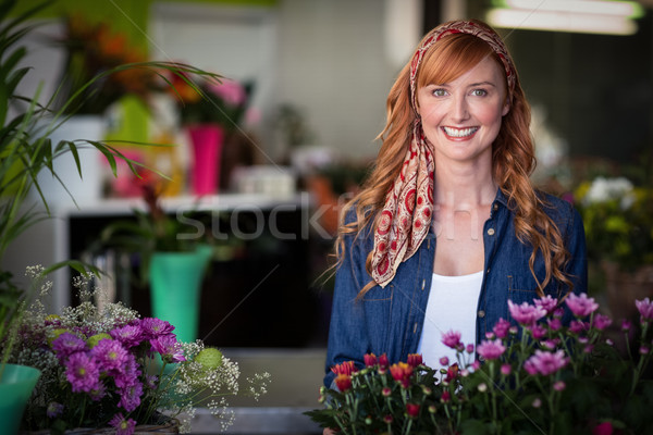 Feliz femenino florista retrato flor Foto stock © wavebreak_media