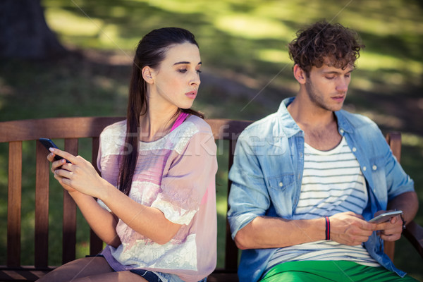 Jealous woman spying her man's mobile phone in park Stock photo © wavebreak_media