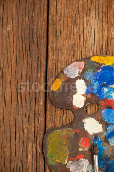 Palette with multiple colors and brush Stock photo © wavebreak_media