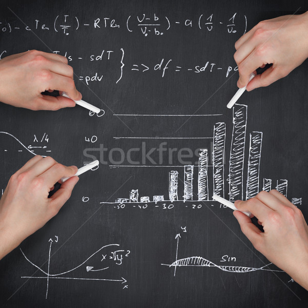 Composite image of multiple hands writing with chalk Stock photo © wavebreak_media