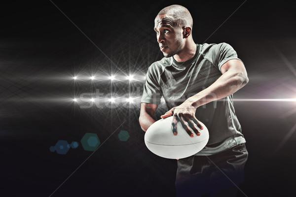 Afbeelding vastbesloten rugby speler positie Stockfoto © wavebreak_media