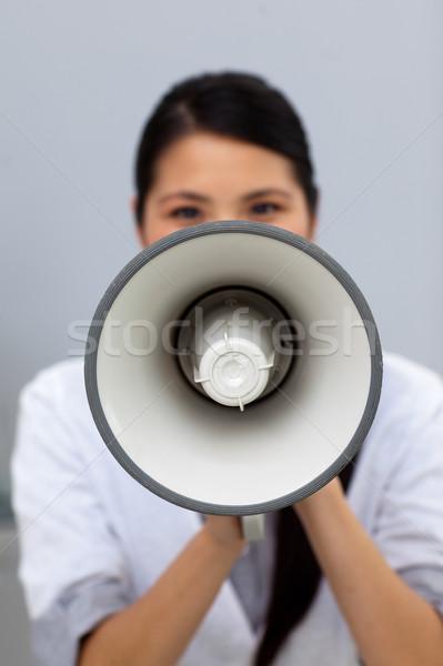 小さな 女性実業家 説明書 メガホン オフィス ストックフォト © wavebreak_media