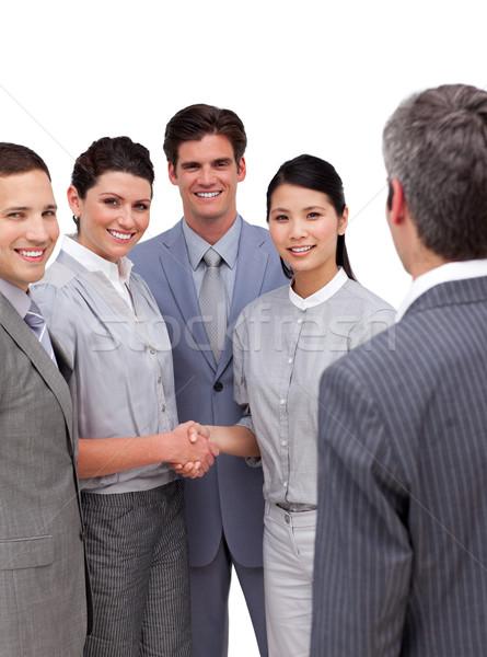 Jonge handen schudden witte vrouw kantoor Stockfoto © wavebreak_media