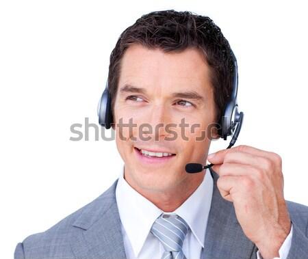 Stok fotoğraf: Genç · işadamı · kulaklık · beyaz · iş · gülümseme