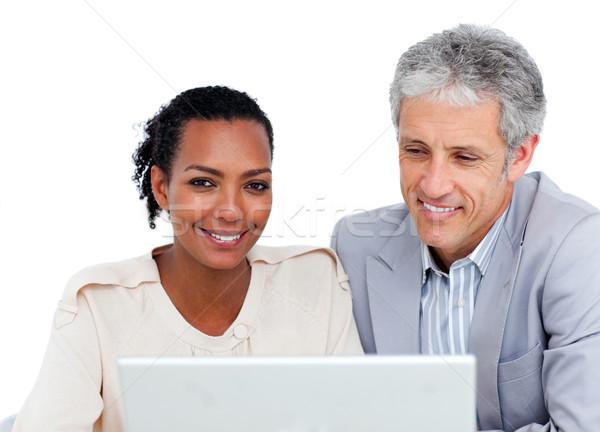 Stockfoto: Business · met · behulp · van · laptop · witte · vrouw