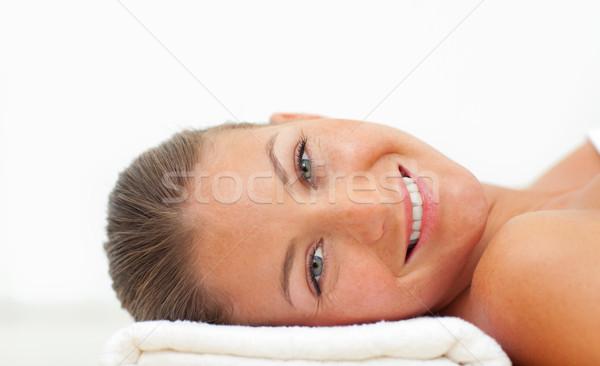 Retrato rubio mujer relajante tratamiento de spa blanco Foto stock © wavebreak_media