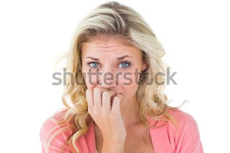 Vrouw vinger lip jonge vrouw hand vrouwen Stockfoto © wavebreak_media