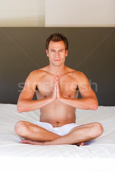 кровать привлекательный спорт тело фитнес Сток-фото © wavebreak_media