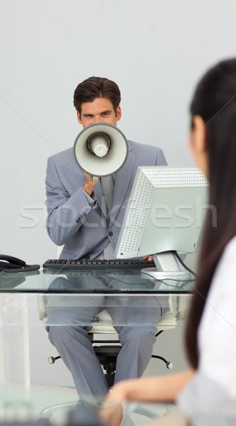 Biznesmen instrukcje megafon biuro działalności kobieta Zdjęcia stock © wavebreak_media