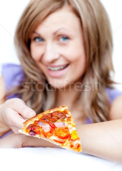 Vrouw pizza witte voedsel Stockfoto © wavebreak_media