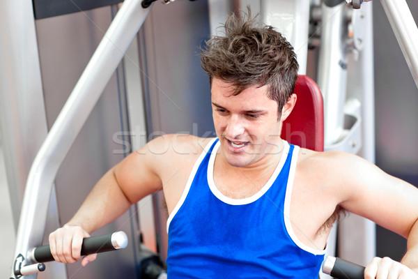 Stockfoto: Atletisch · jonge · man · bank · druk · fitness · centrum