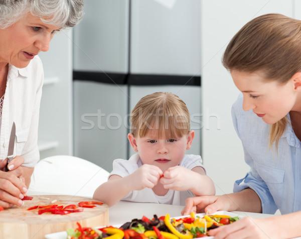 Familie koken samen keuken home huis Stockfoto © wavebreak_media