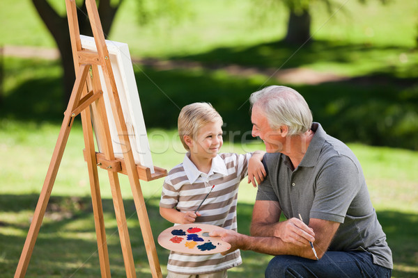 Großvater Enkel Malerei Garten glücklich Kunst Stock foto © wavebreak_media