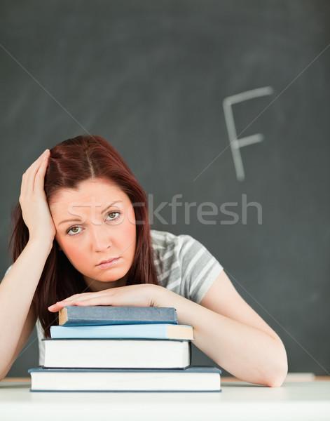 肖像 悲しい 若い女性 悪い マーク 教室 ストックフォト © wavebreak_media