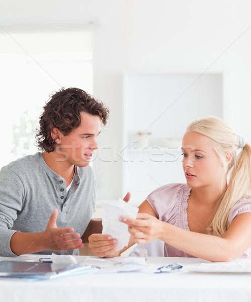 Couple doing their accounts in their living room Stock photo © wavebreak_media
