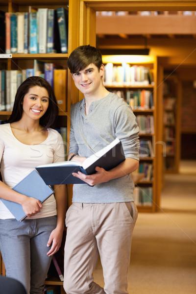 Portre genç Öğrenciler kitap kütüphane kitaplar Stok fotoğraf © wavebreak_media