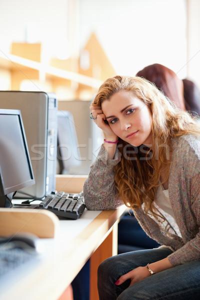Portré szomorú fiatal diák pózol másfelé néz Stock fotó © wavebreak_media